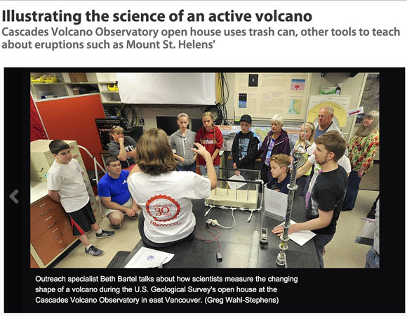 UNAVCO outreach specialist Beth Bartel explains volcano deformation to a captive audience at the USGS Cascades Volcano Observatory Open House in Vancouver, Washington on May 2, 2015, and was later featured in The Columbian. (Photo by Greg Wahl-Stephens for The Columbian)