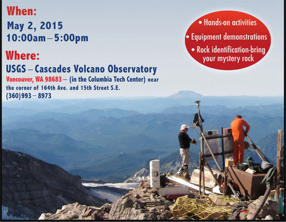 Flier for the USGS Cascades Volcano Observatory Open House on May 2, 2015. (From USGS)