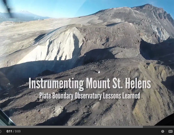 Screen shot of the opening of a new video about maintaining instrumentation on Mount St. Helens. How do you keep systems going through harsh winters? The USGS and others rely on these data for volcano monitoring and hazards analysis. (Video produced by UNAVCO)