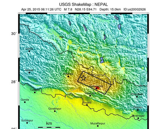 USGS ShakeMap for Mw 7.8 Gorkha, Nepal event of April 25, 2015. (Figure from USGS.)