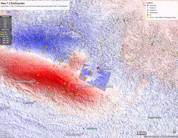 Update: a Mw 7.3 aftershock occurred on May 12, 2015 at the eastern end of the rupture. ALOS-2 observations and preliminary modeling suggest that this event occurred on a part of the fault that was highly stressed by the April 25 mainshock. For more: http://topex.ucsd.edu/nepal/ (Eric Lindsey, Xiaohua Xu, and David Sandwell, UCSD)