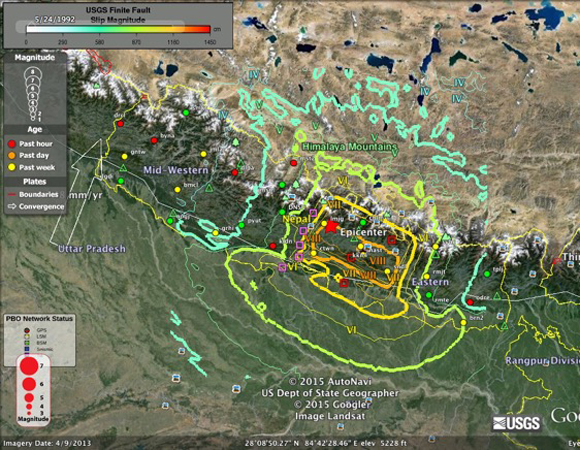 Map of GPS assets in the region of the Gorkha, Nepal earthquake with MMI shaking intensity estimates from the USGS. GPS stations were installed and are maintained by Caltech Tectonics Observatory. High- and standard-rate rate data following the event are currently being retrieved by Caltech with UNAVCO support. Data are available through the UNAVCO Data Archive.