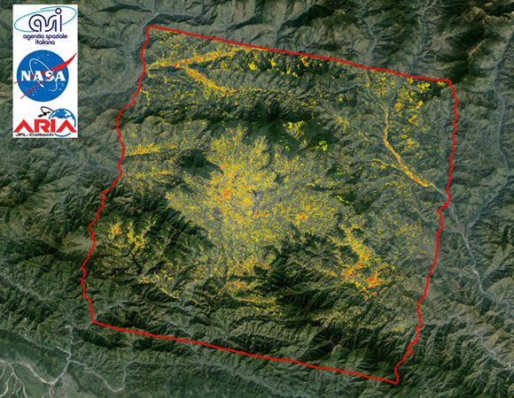 To assist in the disaster response efforts, scientists at NASA\'s Jet Propulsion Laboratory, Pasadena, California, and California Institute of Technology in Pasadena, in collaboration with the Italian Space Agency (ASI), generated these images of the earthquake's hardest-hit region. The 25-by-31 mile (40-by-50 kilometer) Damage Proxy Map (DPM), which covers the region around Kathmandu, was processed by the Advanced Rapid Imaging and Analysis (ARIA) team at JPL and Caltech using X-band interferometric synthetic aperture radar data from ASI's COSMO-SkyMed satellite constellation. More at http://1.usa.gov/1KMN86v