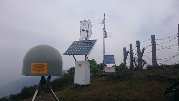 A new Trimble NetR9 installed at GPS station ODRE in Eastern Nepal. Co-located with French/Nepali seismic station Odare. Photo: Michael Fend, UNAVCO, May 16, 2015