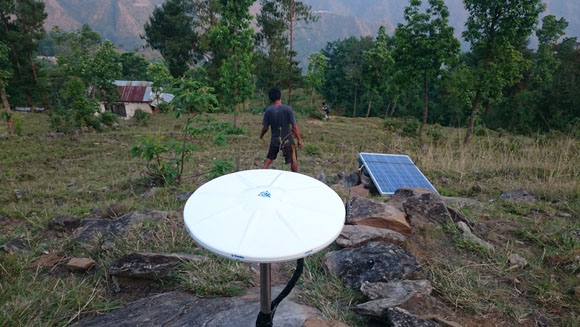GPS station SLBL installed in the highly affected Sindhupalchok region of Nepal. Photo: Michael Fend, UNAVCO, May 30, 2015