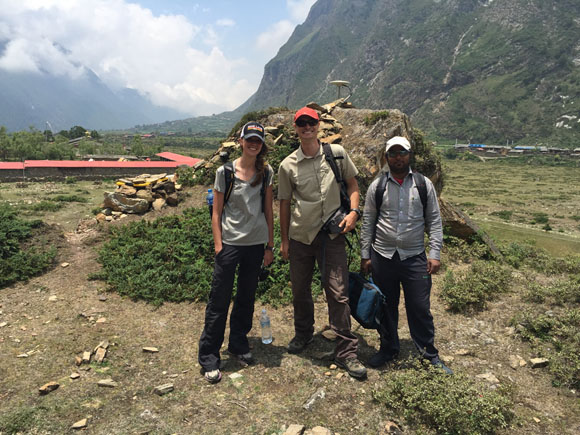 GPS station, TSM1 completed in Tsum Valley, Nepal. From left to right, Ellen Knappe, University of Montana, Michael Fend, UNAVCO and Ratna Mani Ghupta, DMG. Photo: John Galetzka, UNAVCO, June 11, 2015