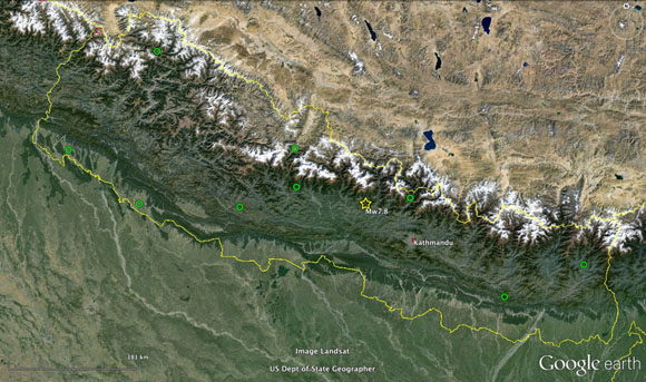 Map showing location of continuous GPS stations (green circles) that were part of the network operated by Caltech/DASE/DMG in Nepal and were known to be working at the time of the Gorkha, Nepal earthquake on April 25, 2015. Epicenter of the mainshock is shown by yellow star. Yellow lines are national borders. Credit: John Galetzka, UNAVCO.