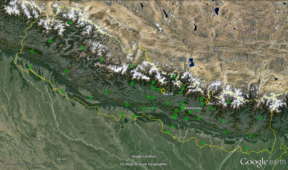 Map showing location of GPS stations (green circles) that are part of a new integrated and shared network in Nepal as of June 27, 2015. New and refurbished stations are streaming open access data to the UNAVCO data archive. Some stations are co-located with seismometers and other instruments to help monitor hazards and understand earth processes. Yellow lines are national borders. Yellow stars show the epicenters of the April 25 mainshock and May 15 aftershock. Credit: John Galetzka, UNAVCO.