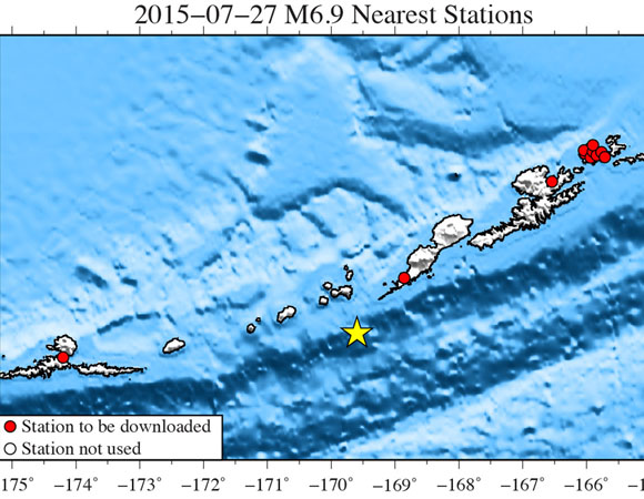 Map showing Plate Boundary Observatory continuous GPS stations near the epicenter (yellow star) of the 2015-07-27 M6.9 earthquake 73km SW of Nikolski, Alaska. UNAVCO is downloading high-rate GPS data from available stations within ~350 km of the epicenter. One-sample-per-second (1-sps) GPS data will be collected for a 7-day period (± 3 days) around the main shock. (Figure by Christine Puskas, UNAVCO.)