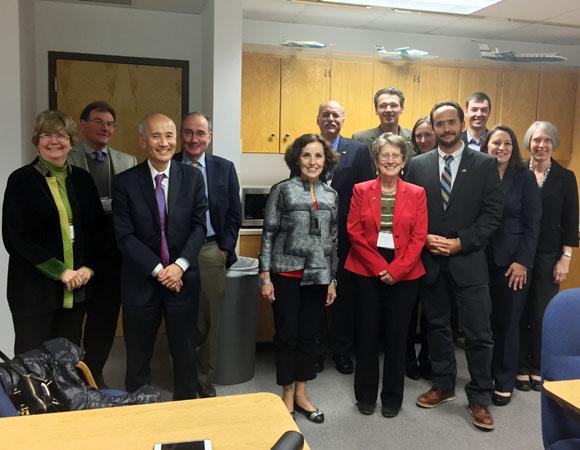 UNAVCO presents to National Science Foundation (NSF) leadership on February 20, 2015. From left to right: Margaret Cavanaugh, NSF/GEO (Deputy Assistant Director); Glen Mattioli, UNAVCO; Roger Wakimoto, NSF/GEO (Assistant Director); James Olds, NSF/BIO (Assistant Director); France Córdova, NSF (Director); Charles Meertens, UNAVCO; Meghan Miller, UNAVCO; Adrian Borsa, UCSD; Rowena Lohman, Cornell; Diego Melgar, Berkeley; Christopher Crosby, UNAVCO; Donna Charlevoix, UNAVCO; Carol Frost, NSF/EAR (Division Director). Not pictured: Marianne Okal, UNAVCO. (Photo/Marianne Okal, UNAVCO)