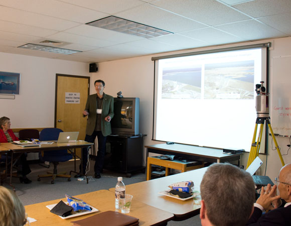 Adrian Borsa, SIO/UCSD, presents research using data from the Plate Boundary Observatory. (Photo/Marianne Okal, UNAVCO)