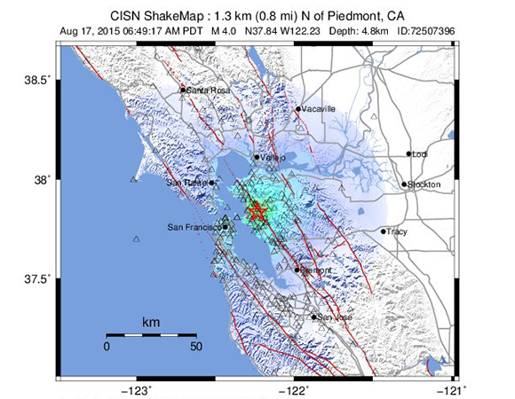 USGS ShakeMap for the 17 August 2015 Mw 4.0 earthquake 1km north of Piedmont, California. (Figure from USGS.)