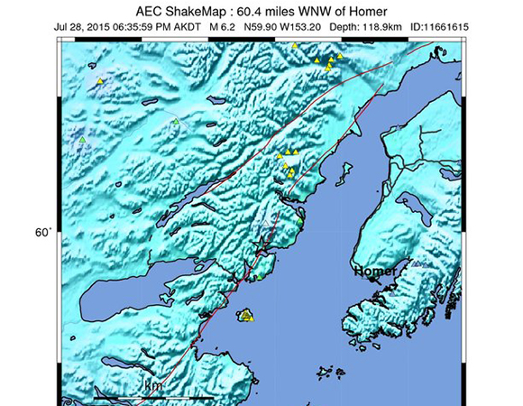 USGS ShakeMap for the Mw 6.3 earthquake 70km SSW of Redoubt Volcano, Alaska. (Figure from USGS.)