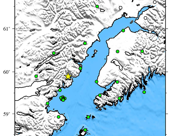 Map showing Plate Boundary Observatory continuous GPS stations near the epicenter (yellow star) of the 2015-07-29 Mw 6.3 earthquake 70km SSW of Redoubt Volcano, Alaska. Downloaded stations are shown in green. UNAVCO is downloading high-rate GPS data from available stations within ~200 km of the epicenter. (Figure by Christine Puskas, UNAVCO.)