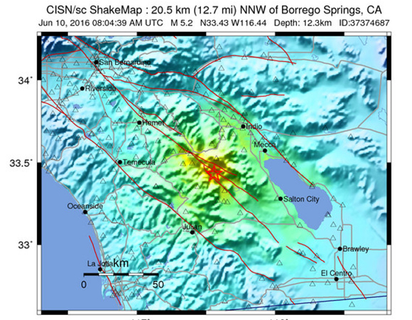 USGS ShakeMap for the 10 June Mw 5.2 earthquake 20km NNW of Borrego Springs, California. (Figure from USGS.)