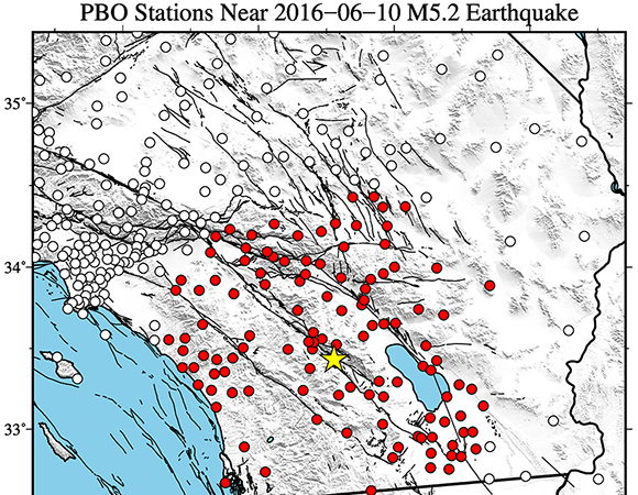 Map showing Plate Boundary Observatory continuous GPS stations near the epicenter (yellow star) of the 10 June Mw 5.2 earthquake 20km NNW of Borrego Springs, California. UNAVCO is downloading high-rate GPS data from the available PBO GPS stations within 80 km of the epicenter. Five-sample-per-second (5-sps or 5 Hz) GPS data are being collected for a 7-day period around the event (day of event ± 3 days). (Figure by Christine Puskas, UNAVCO.)