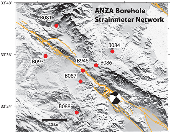 PBO Borehole Strainmeter Network in Anza (red dots). Focal mechanism shows the location of the June 10 2016 event. Orange traces show Holocene to Latest Pleistocene fault traces from https://earthquake.usgs.gov/hazards/qfaults/google.php. (Figure by Kathleen Hodgkinson, UNAVCO)