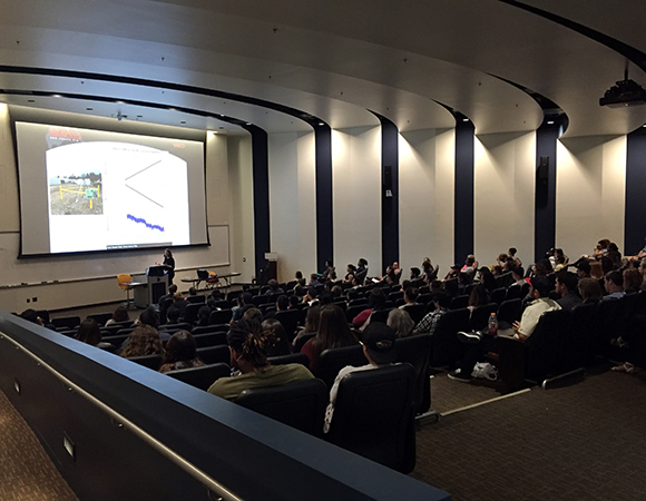 From small classrooms to large lecture halls. UNAVCO staff give an interactive presentation on geodesy and the EarthScope Plate Boundary Observatory to community college students at Ventura College. (Photo by Ryan Turner, UNAVCO)