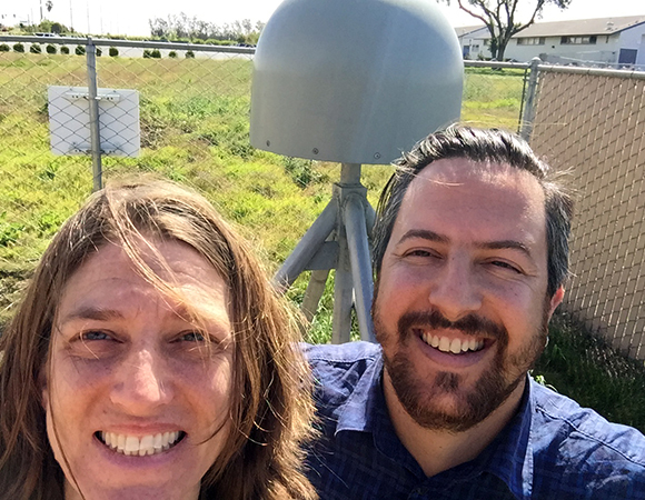 Teamwork makes everything better. Outreach specialist Beth Bartel and field engineer Ryan Turner teamed up to bring their experience in and enthusiasm for Earth science to students from 4th grade to community college.