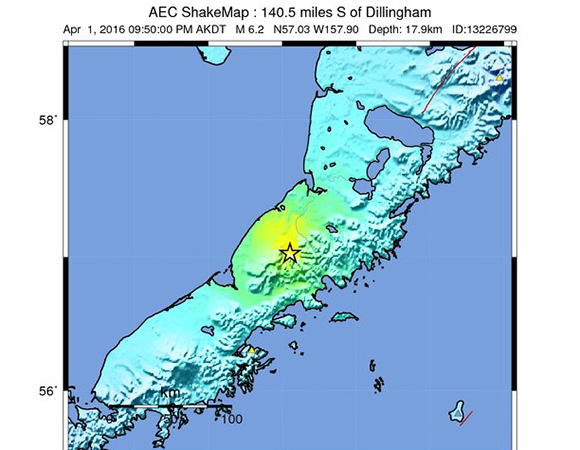 USGS ShakeMap for the 1 April 2016 Mw 6.2 Earthquake 100km NNE of Chignik Lake, Alaska. (Figure from USGS.)
