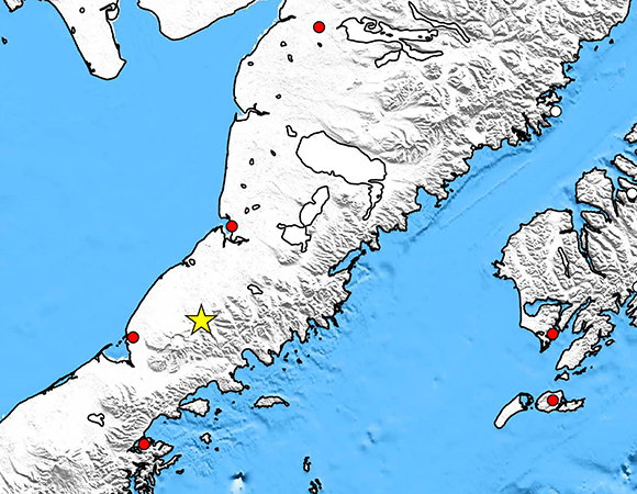 Map showing Plate Boundary Observatory continuous GPS stations near the epicenter (yellow star) of the 1 April 2016 Mw 6.2 Earthquake 100km NNE of Chignik Lake, Alaska. UNAVCO is downloading high-rate GPS data from the available PBO GPS stations within 250 km of the epicenter. One-sample-per-second (1-sps or 1 Hz) GPS data are being collected for a 7-day period around the event (day of event ± 3 days). (Figure by Christine Puskas, UNAVCO.)