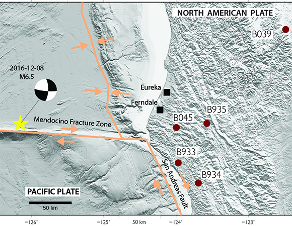 EarthScope Plate Boundary Observatory borehole strainmeter stations in the Mendocino area, near the epicenter (yellow star) of the December 8, 2016 M6.5 Earthquake 160km W of Ferndale, California. (Figure by Kathleen Hodgkinson, UNAVCO)