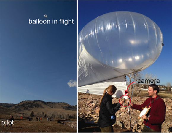 SfM balloon platform as demonstrated at the 2014 UNAVCO Science Workshop. The photo on the left shows the position of the camera while the balloon is in flight. The center photo shows the position of the balloon relative to the pilot while in flight. The photo on the right shows more detail of the camera setup. Because of the picavet setup, the camera is oriented directly at the ground (Beth Bartel and Linda Rowan, UNAVCO).