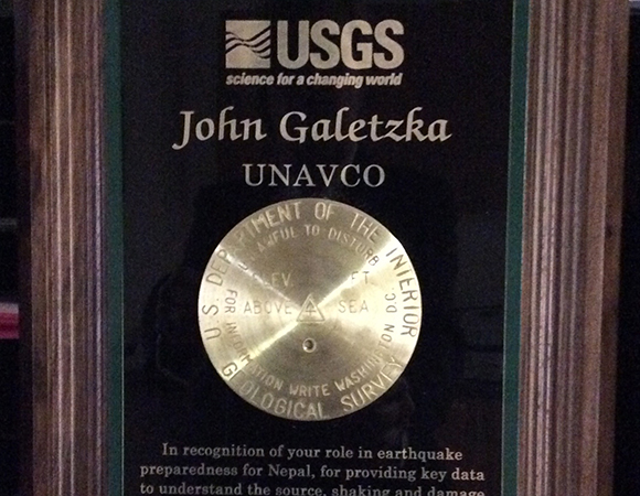 The John Wesley Powell Award, a national service award given by the U.S. Geological Survey (USGS), recognizes an individual or group, not employed by the Federal Government, whose contributions to the USGSs objectives and mission are noteworthy.