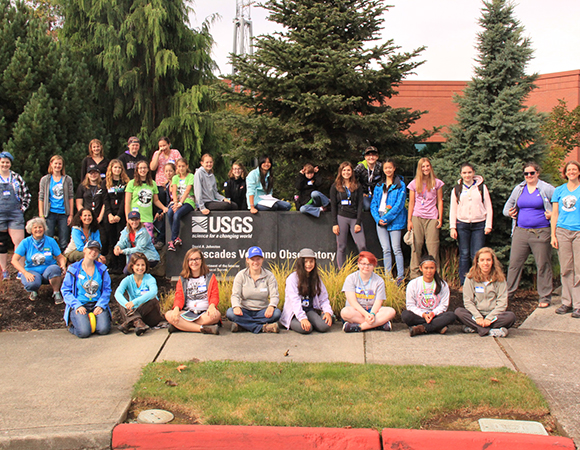 The 2016 GeoGirls crew, starting out at the USGS Cascades Volcano Observatory in Vancouver, Washington: 18 middle school girls, four high school girls, two middle school teachers, and many other mentors including UNAVCO staff.