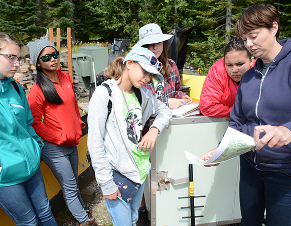 Geodesy day: A small group of GeoGirls learns about EarthScope Plate Boundary Observatory strainmeters from UNAVCO field engineer Elizabeth Van Boskirk. (Photo/Beth Bartel, UNAVCO)