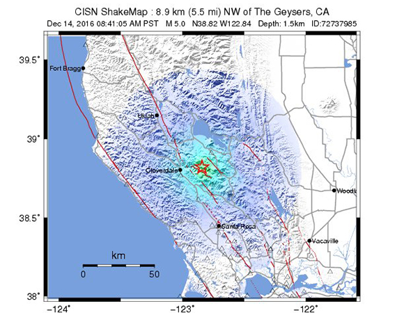 USGS ShakeMap for the December 14, 2016 M5.0 earthquake 8km NW of The Geysers, California. (Figure from USGS.)