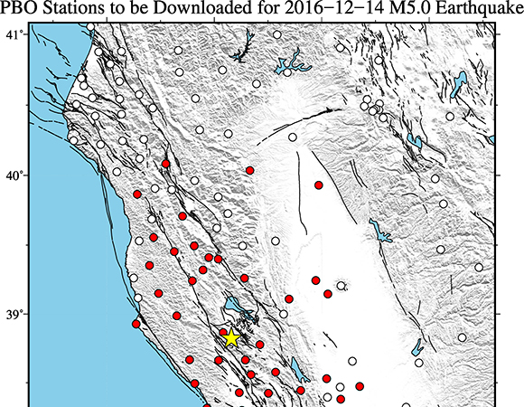 Map showing EarthScope Plate Boundary Observatory continuous GPS stations near the epicenter (yellow star) of the December 14, 2016 Mw 5.0 event near The Geysers, California. UNAVCO is downloading high-rate GPS/GNSS data from PBO stations within 150 km of the epicenter. (Figure by Christine Puskas, UNAVCO)