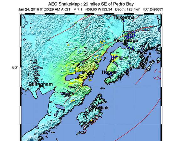 USGS ShakeMap for the 24 January 2016 Mw 7.1 Earthquake 83km E of Old Iliamna, Alaska. (Figure from USGS.)