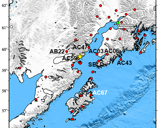 Map showing Plate Boundary Observatory continuous GPS stations near the epicenter (yellow star) of the 24 January 2016 Mw 7.1 Earthquake 83km E of Old Iliamna, Alaska. UNAVCO is downloading high-rate GPS data from the 45 available stations within 400 km of the epicenter. One-sample-per-second (1-sps or 1 Hz) GPS data are being collected for a 7-day period around the event (day of event ± 3 days). Higher rate 5-sps (5 Hz) data are also being downloaded from four stations within the greater Anchorage area for a 24 hour period around the event (± 12 hours). Named stations are shown is Figures 4-10. (Figure by Christine Puskas, UNAVCO.)