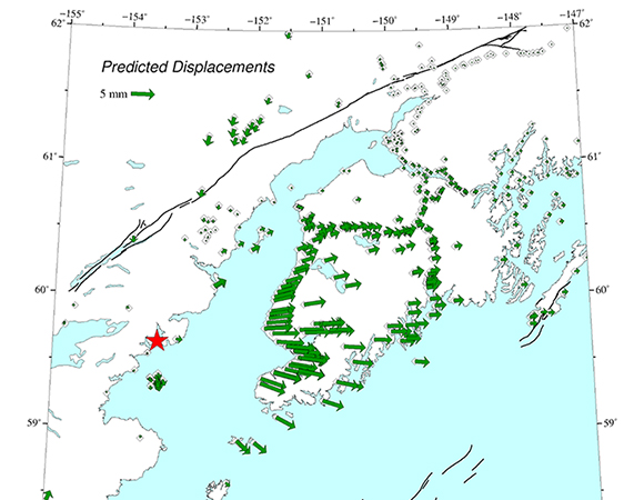 Static displacements predicted for the 24 January 2016 Mw 7.1 Earthquake 83km E of Old Iliamna, Alaska based on the initial USGS finite fault model. Because the earthquake was quite deep (127.8 km), the displacements are small at the surface (5 mm = about 1/5 of an inch), but should be measureable with GPS. These static displacements are expected to be largest on the Kenai Peninsula, on the east side of Cook Inlet. (Figure provided by Jeff Freymueller, University of Alaska - Fairbanks.)