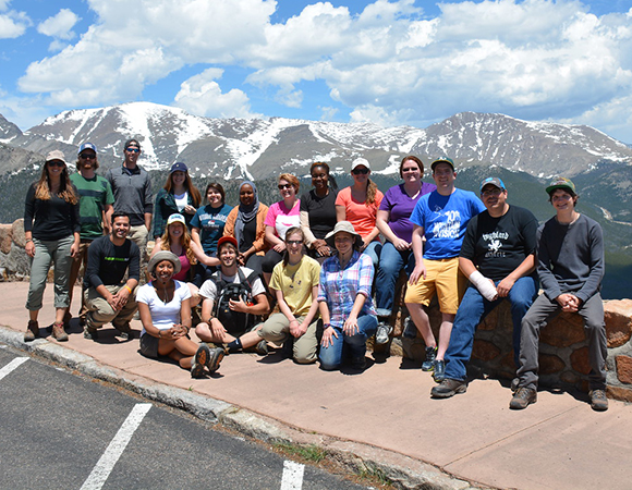 Geo-Launchpad, RESESS, and USIP interns participated in an all-day, geology-focused field trip to Rocky Mountain National Park. The field trip was guided by Blake Russo-Nixon, an environmental geoscience volunteer. Highlights included an alluvial fan, Trail Ridge Road, and the Continental Divide. Estes Park, Colorado, June 10, 2016.