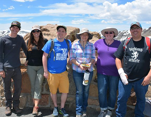 2016 Geo-Launchpad interns with Kelsey Russo-Nixon, UNAVCO. Estes Park, Colorado, June 10, 2016. (Photos/Aisha Morris, UNAVCO)