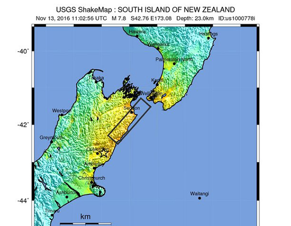 USGS ShakeMap for the 13 November 2016 M7.8 Kaikoura earthquake 53km NNE of Amberley, New Zealand. (Figure from USGS.)