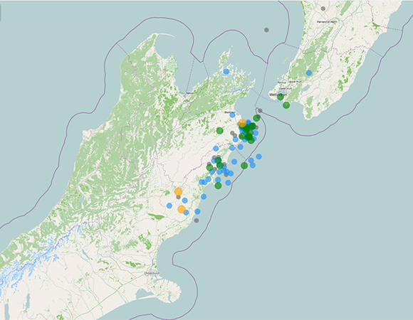 GeoNet map of 13 November 2016 M7.8 Kaikoura, New Zealand earthquake and aftershocks.