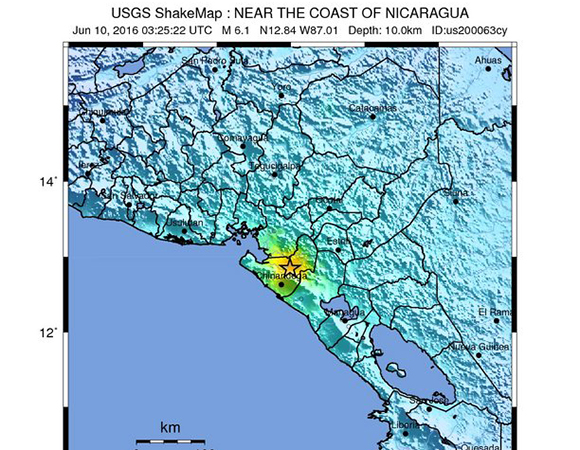 USGS ShakeMap for the 9 June 2016 Mw6.1 earthquake 17km east of Puerto Morazan, Nicaragua. (Figure from USGS.)
