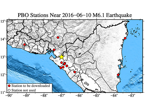 Map showing continuous GPS stations near the epicenter (yellow star) of the 9 June 2016 Mw6.1 earthquake 17km east of Puerto Morazan, Nicaragua. UNAVCO downloaded one-sample-per-second (1-sps or 1 Hz) GPS data for a 7-day period around the event (day of event ± 3 days). (Figure by Christine Puskas, UNAVCO.)