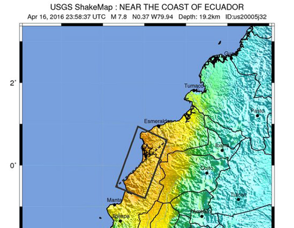 USGS ShakeMap for the 16 April 2016 Mw 7.8 earthquake 27km SSE of Muisne, Ecuador. (Figure from USGS.)