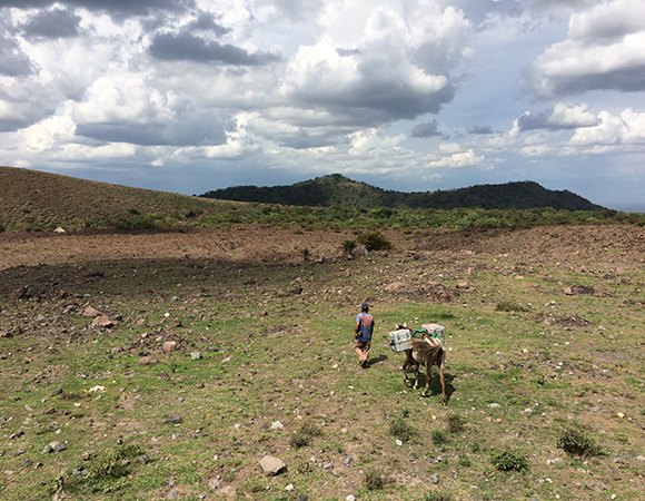 Collaborating with local farmer Armelio to pack out seismic equipment for Diana Roman at the Carnegie Institute in Washington. (Photo/Mike Fend, UNAVCO)