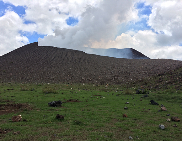 Telica crater and its new lawn ornaments. Note the various bomb holes. (Photo/Mike Fend, UNAVCO)