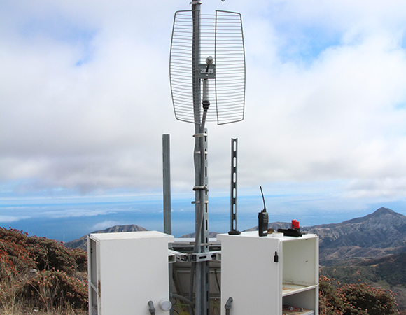 SW: Completed radio repeater at CRU1 atop Diablo Peak, Santa Cruz Island. (Photo by Andre Basset, UNAVCO)