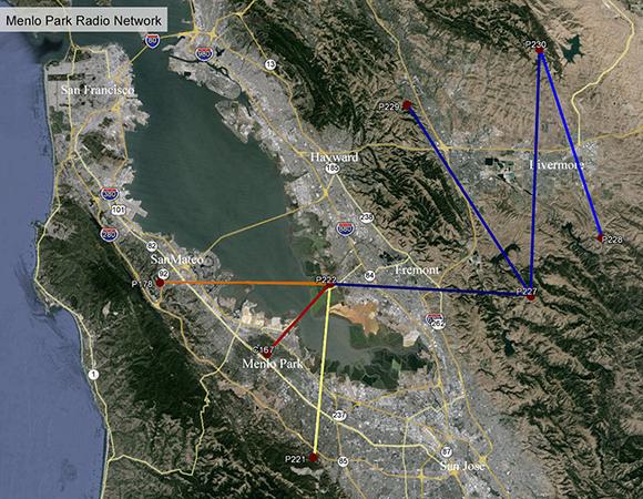The Menlo Park radio network in the Bay Area, California.
