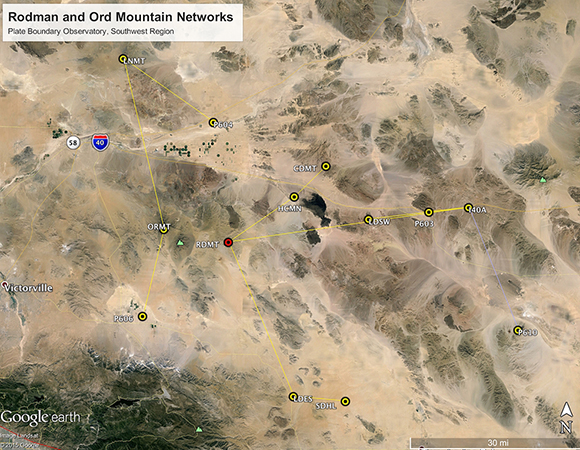 The Rodman and Ord Mountain radio networks in California.