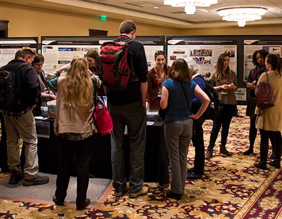 Poster session and the EnGAGE interactive space at the 2016 UNAVCO Science Workshop. (Photo/J. La Plante)