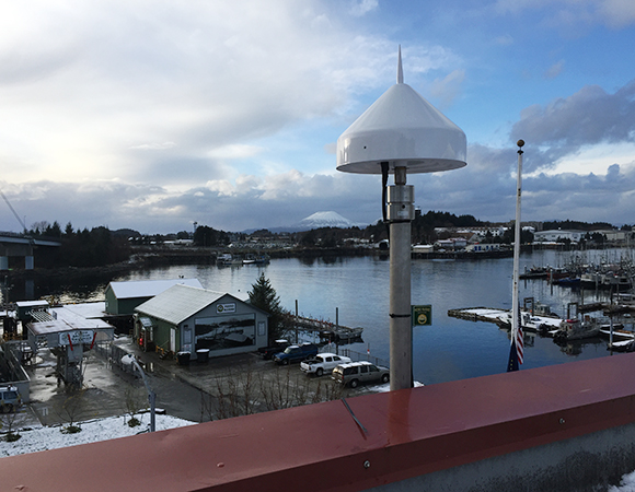 Station AKSI was installed on the roof of the historic Sitka Post Office. Photo provided by John Sandru.
