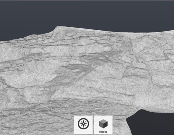 A 3D model of an outcrop created from overlapping photographs. For an animated gif, follow the link in the text to 3D View from a Drone: Make a 3D Model From Your Photos. (Image/Shelley Olds, UNAVCO)